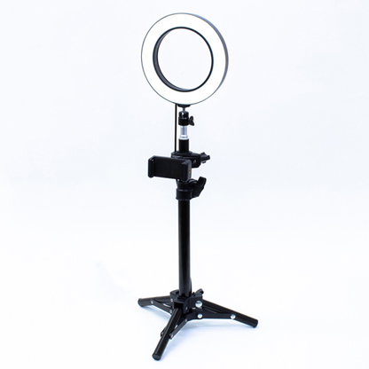 ライブ配信・自撮り用LEDリングライト付きスマホスタンド