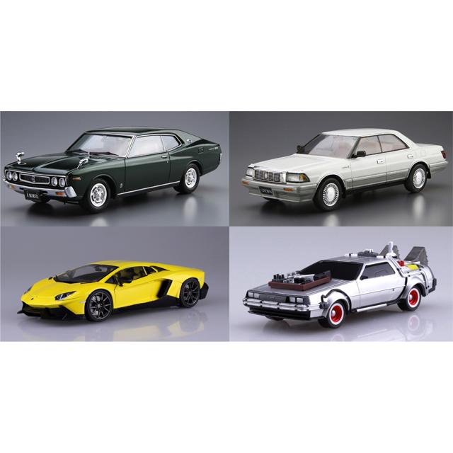 「1/24 ニッサン KHC130 ローレルHT2000SGX '75」「1/24 トヨタ UZS131 クラウン ロイヤルサルーンG '89」など