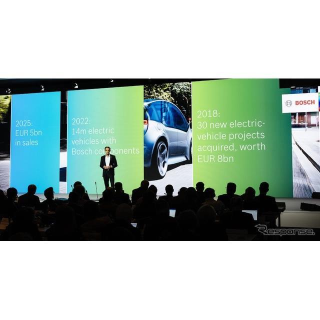 ボッシュ製の電動パワートレインが2022年末までに全世界でおよそ1400万台の車両に搭載されるとの見通しを発表したボッシュ取締役会のフォルクマル・デナー会長