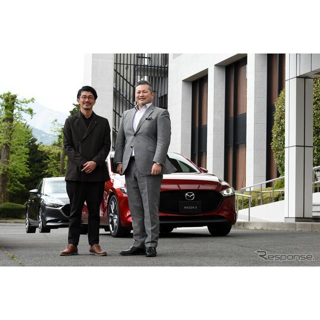 マツダ3の開発責任者を務める別府耕太氏(右)とチーフデザイナーの土田康剛氏(左)