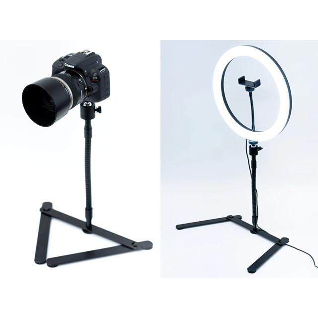 重量600gのずっしり仕様、大型LEDライトも設置できる撮影用スタンド
