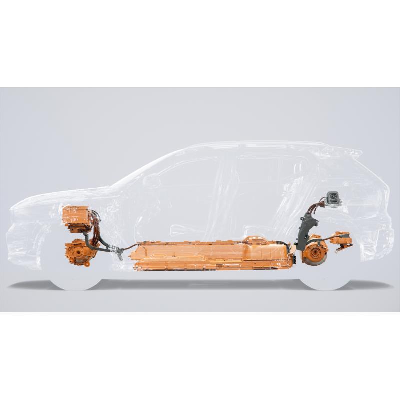「ボルボXC40 SUV」のパワープラントの透視図。