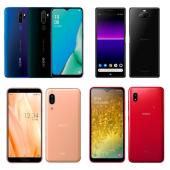 上段左よりOPPO A5 2020、Xperia 8、下段左よりAQUOS sense3、Galaxy A20