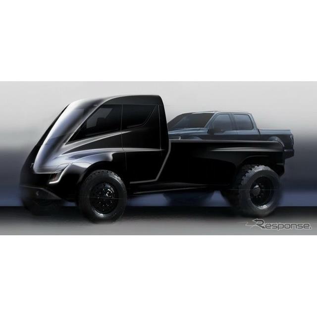 テスラの電動ピックアップトラックのティザーイメージ