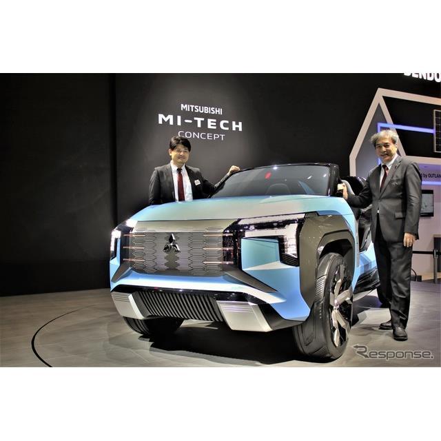 東京モーターショー2019三菱ブースにはきれいなブルーに塗られたコンセプトカー、『マイテックコンセプト』...