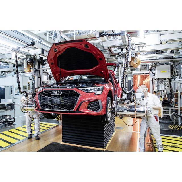 アウディは、新型『A3スポーツバック』(Audi A3 Sportback)の生産をドイツ・インゴルシュタット工場で開...