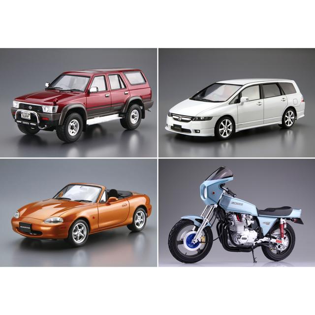 「1/24 トヨタ VZN130G ハイラックスサーフ SSR-X ワイドボデー '91」「1/24 ホンダ RB1 オデッセイ アブソルート '06」「1/24 マツダ NB8C ロードスター RS '99」「カワサキ Z1-R カスタムパーツ付き」