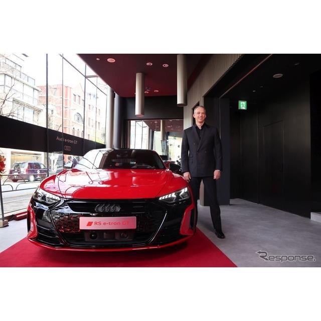 アウディ・ジャパンは2月にワールドプレミアされた『e-tron GT』を4月7日より5月31日まで東京・表参道の「A...