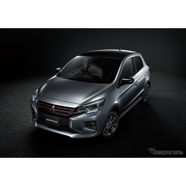 三菱自動車は、コンパクトカー『ミラージュ』にブラックのアクセントカラーでスポーティに仕上げた特別仕様...