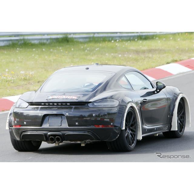 謎のポルシェ『718ケイマン』開発車両がニュルブルクリンクに出現、その姿をスクープサイト「Spyder7」のカ...