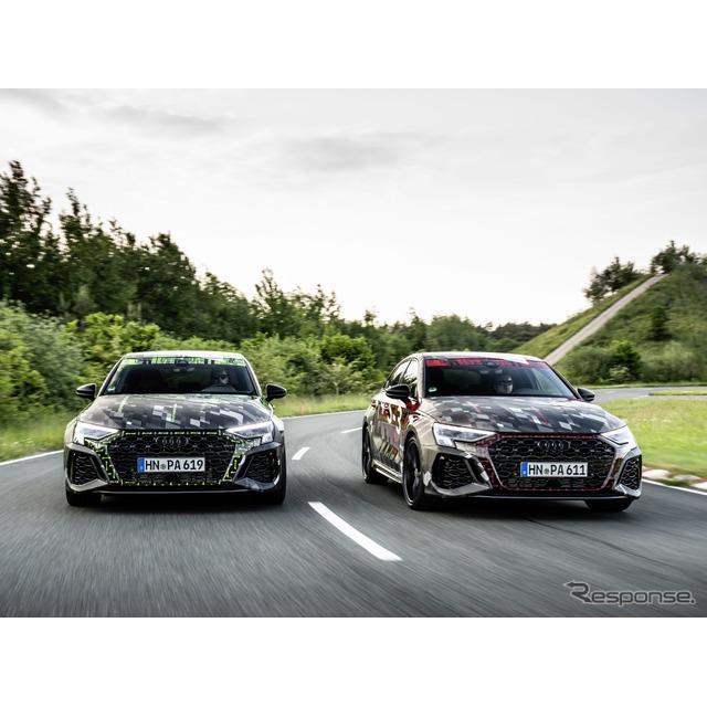 アウディ(Audi)は6月22日、現在開発を進めている新型『RS3スポーツバック』と新型『RS3セダン』に、「RS...