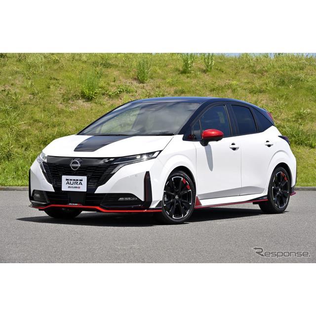 日産自動車が17日に発表した『ノートオーラ NISMO』。その内外装をよりスポーティに仕上げる様々なパーツが...