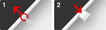 iPhoneの側面にあるスロットを出してSIMカードを入れ替える
