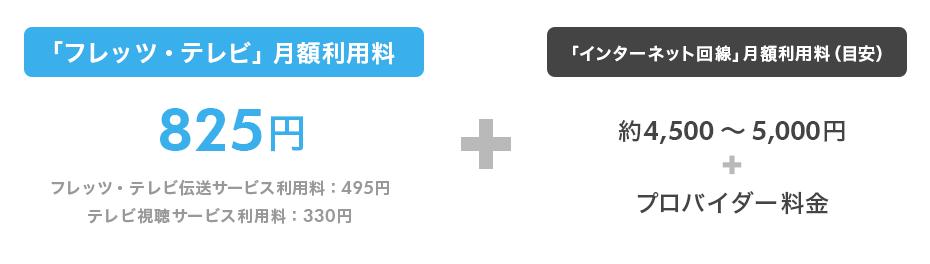 月額利用料(例):NTT東西の「フレッツ・テレビ」を契約する場合