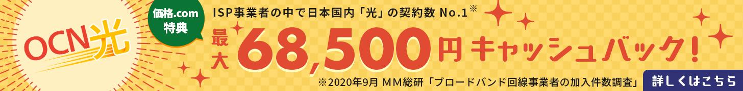 OCN光 ISP事業者の中で日本国内「光」の契約数No.1 価格.com特典 最大68,500円キャッシュバック!