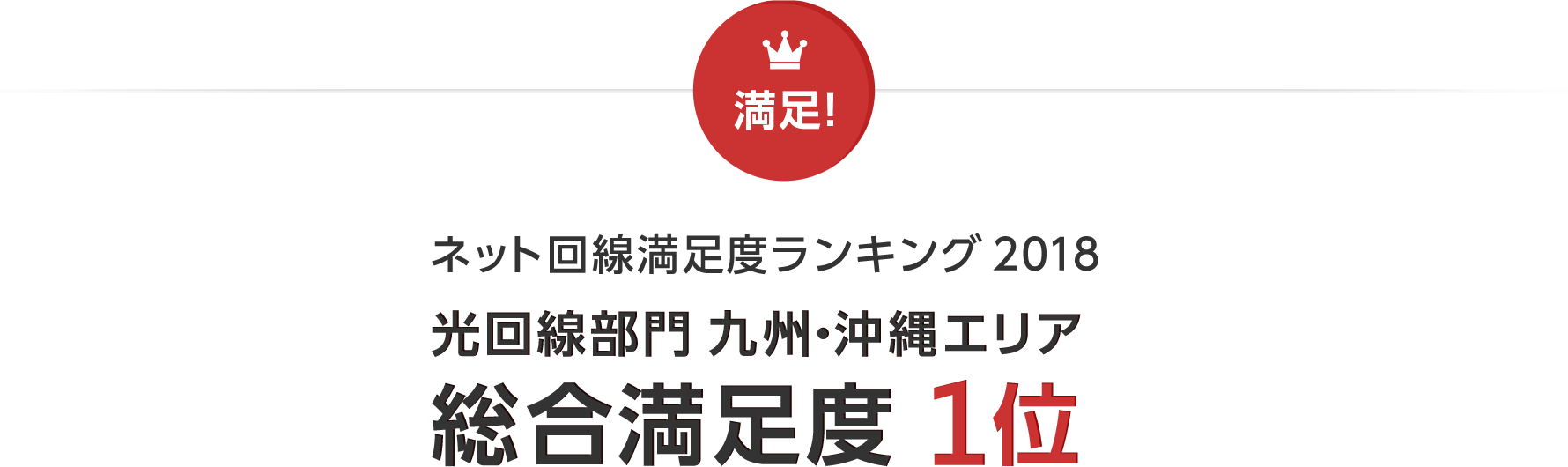 ネット回線満足度ランキング 2018 光回線部門 九州・沖縄エリア 総合満足度 1位