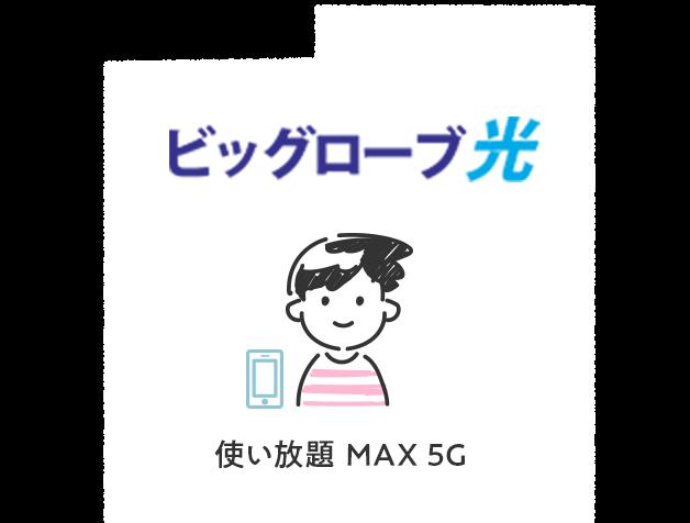 光回線がビッグローブ光で、キャリアでauの使い放題MAX 5Gを利用している場合