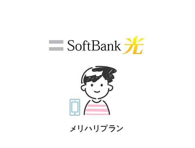 光回線がSoftBank 光で、キャリアがソフトバンクのメリハリプランを利用している場合