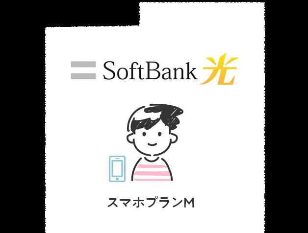 光回線がSoftBank 光で、ワイモバイルのスマホプランMを利用している場合