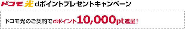 ドコモ光 dポイントプレゼントキャンペーン。ドコモ光のご契約でdポイント最大10,000pt進呈!