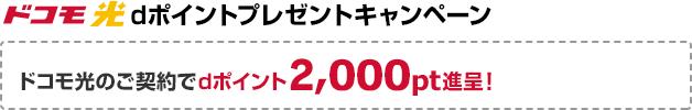 ドコモ光 dポイントプレゼントキャンペーン。ドコモ光のご契約でdポイント2,000pt進呈!