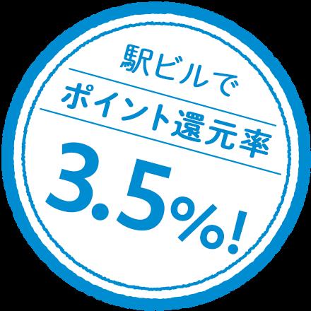 駅ビルでポイント還元率3.5%!