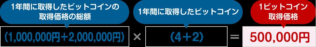 図:(1,000,000円+2,000,000円) ÷ (4+2) =500,000円