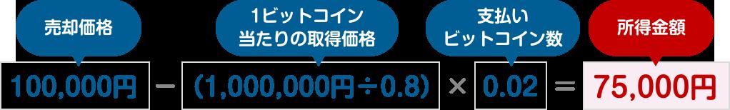 図:100,000円 − (1,000,000円÷0.8) × 0.02 = 75,000円