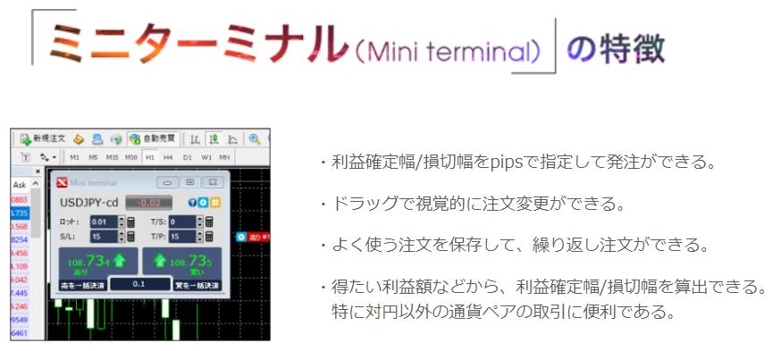 発注ツール「FXTFミニターミナル(Mini terminal)」