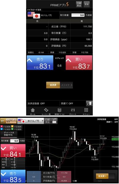 「PRIMEアプリS」ハイスピード注文画面