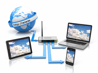 1本の回線でも、複数の機器からインターネットへ接続できるルーター