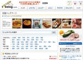 当時の食べログトップページ