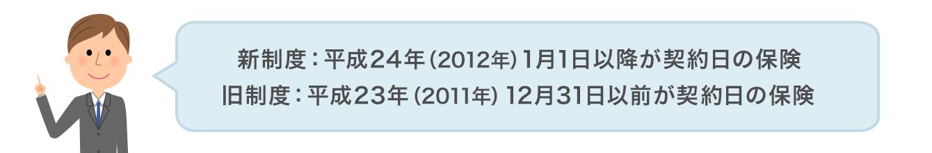 新制度:平成24年(2012年)1月1日以降が契約日の保険 旧制度:平成23年(2011年)12月31日以前が契約日の保険図
