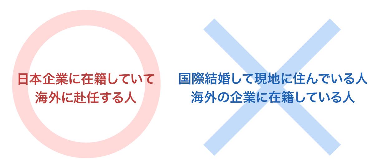 日本企業に在籍していて、海外に赴任する人は〇。国際結婚して現地に住んでいる人、海外の企業に在籍している人は×。