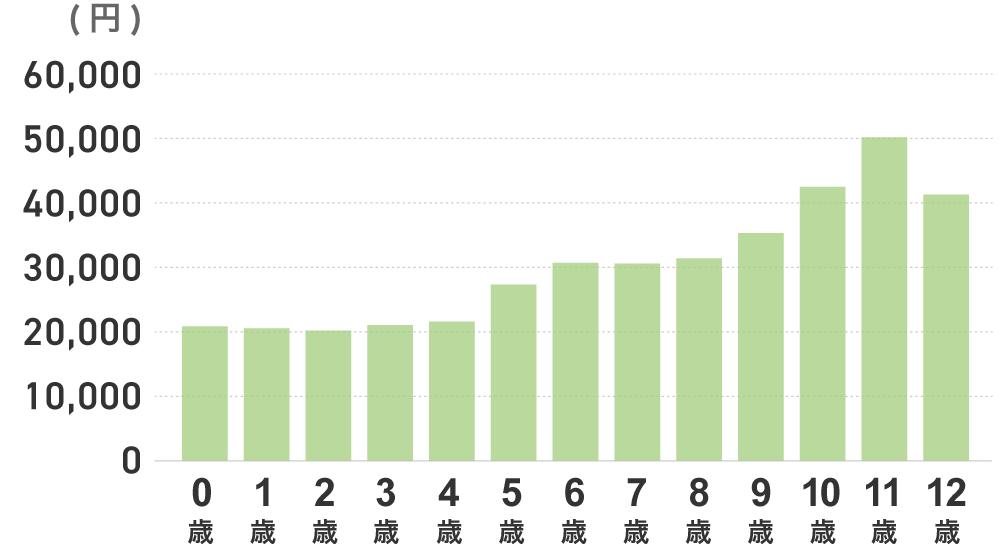 年齢ごとの年払い平均保険料の平均金額