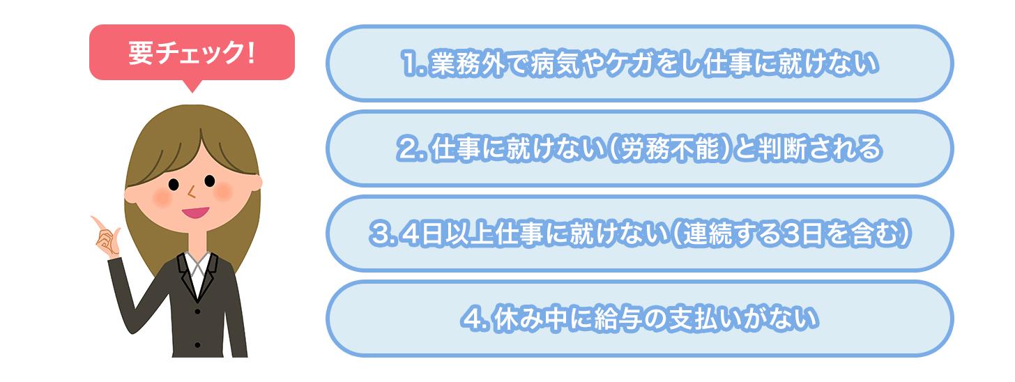 傷病手当金の4つの支給条件図