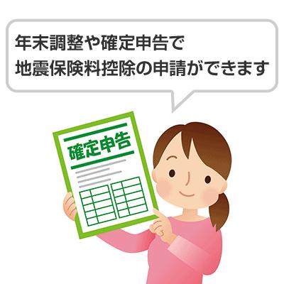 年末調整や確定申告で地震保険料控除の申請ができます