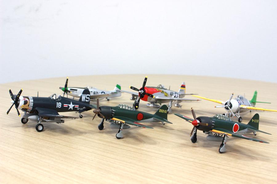 零戦52丙型にP-51マスタング、第二次大戦時の戦闘機プラモ全6種をコンプリート
