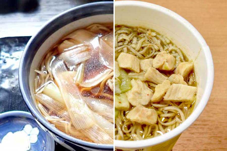 カップそばとお店の味を比較! 行列のできる老舗そば「神田まつや 鶏南ばん」