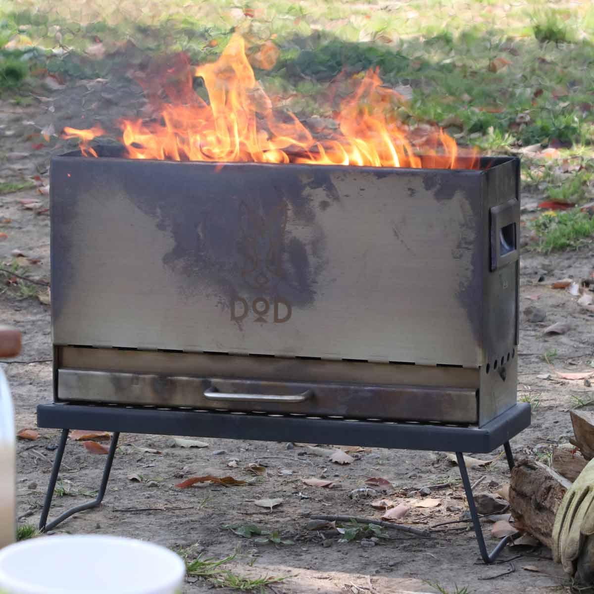 """""""踊るように燃える""""二次燃焼のキレイな炎に魅了される焚き火台「めちゃもえファイヤー」"""