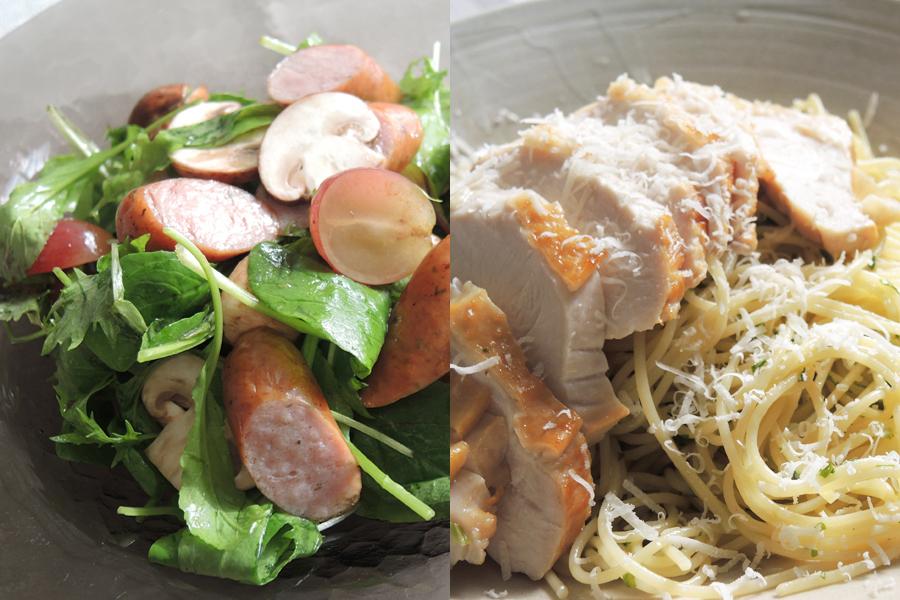 パナソニック「けむらん亭」で作る、燻製ソーセージのサラダと燻製チキンのパスタ