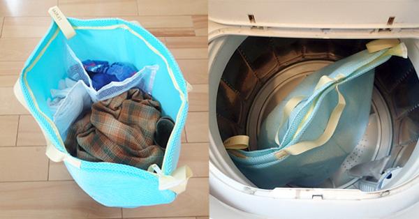 そのまま洗濯機にポイっとできる、カゴ型ランドリーネット