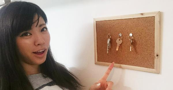 【DIY初級】磁石とコルクボードだけでキーフックを作る方法