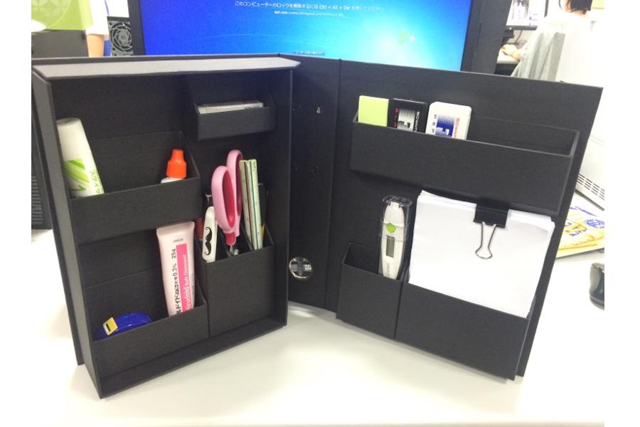 見た目はファイル、中身は収納。机の上はこれでスッキリ!