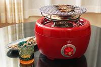 屋外でも家の中でも使える! カセットガス式の火鉢みたいな「ヒバリン」で焼いた食材がウマい