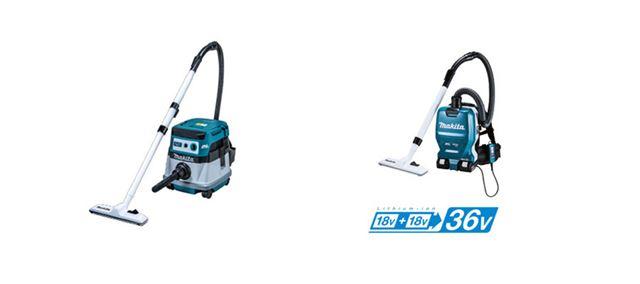 マキタのキャニスター掃除機(左)と、背中に背負うタイプの「充電式背負いクリーナー」(右)