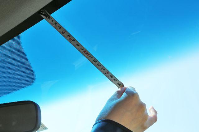 93cmの20%、18.6cmより上にドラレコを設置します