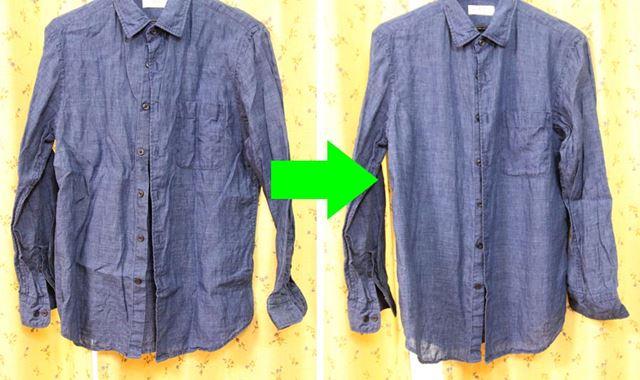 麻のシャツは洗っただけではシワシワ。でもアイロンは面倒。スチーマーでなでればシワがスルスル伸びる