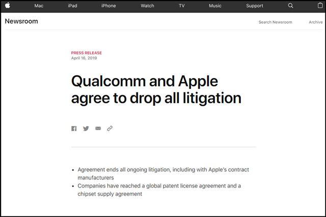 アップルがクアルコムとの和解を電撃発表