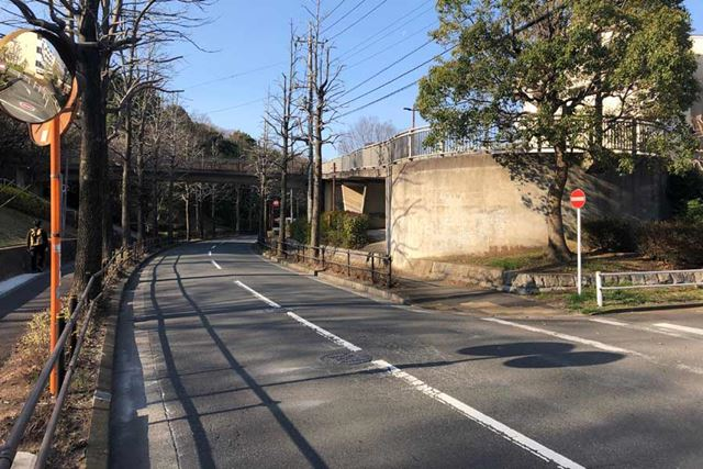 ロードバイクコースには、こんな市街地を走るエリアも含まれる